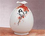 九谷焼 6号花瓶 四十雀 福田良則