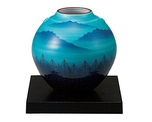 九谷焼 5.5号花瓶 木立連山 台付