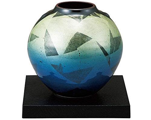 九谷焼 5.5号花瓶 銀彩 台付