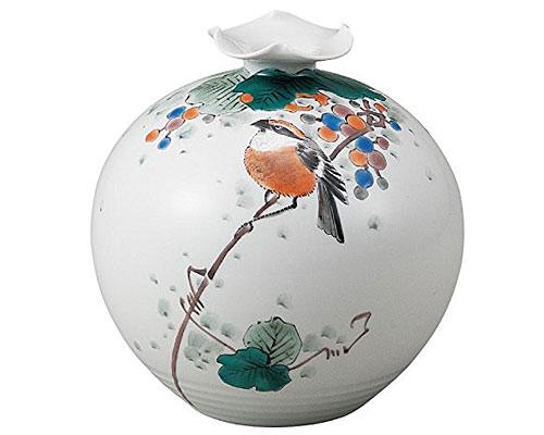 九谷焼 5号花瓶 山葡萄に鳥 福田良則