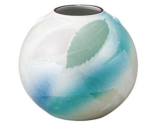 九谷焼 6号花瓶 銀彩葉紋