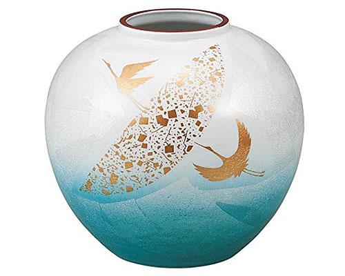 九谷焼 6号花瓶 銀彩鶴紋