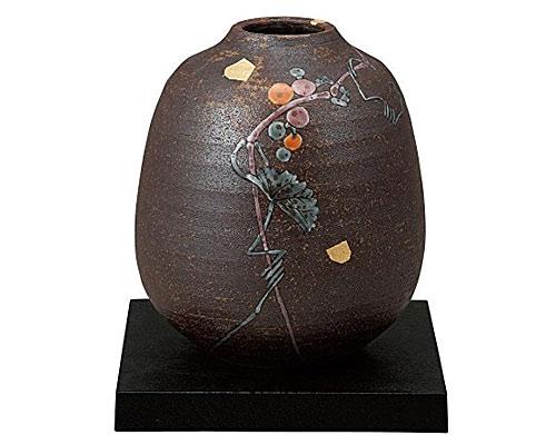 九谷焼 6.5号花瓶 山ぶどう 台付 福田昇竜
