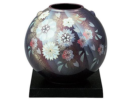九谷焼 7号花瓶 陽光花の舞 台付