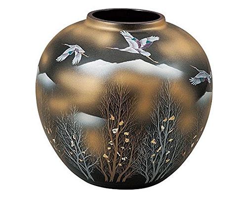 九谷焼 7号花瓶 金雲木立