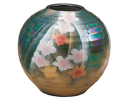 九谷焼 7号花瓶 花斜線