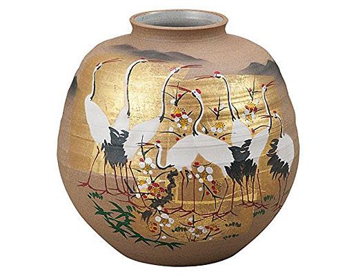 九谷焼 7号花瓶 金箔群鶴