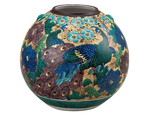 九谷焼 7号花瓶 吉田屋牡丹孔雀