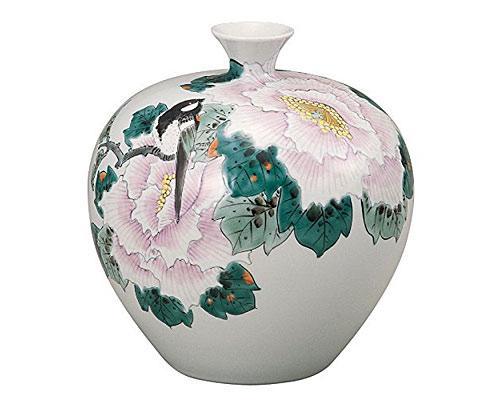 九谷焼 7号花瓶 牡丹鳥 福田良則
