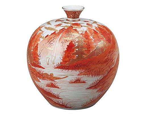 九谷焼 7号花瓶 赤絵山水 福田良則