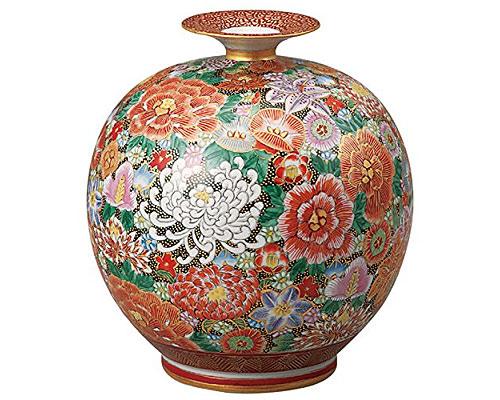 九谷焼 7号花瓶 本金花詰 大雅