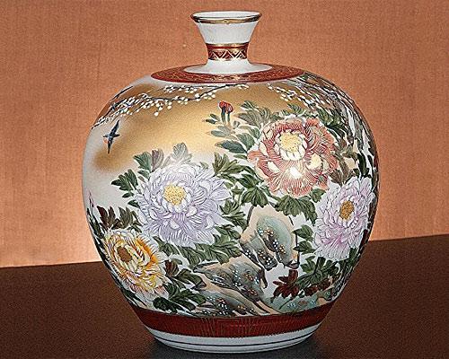 九谷焼 7号花瓶 四君子 光崖