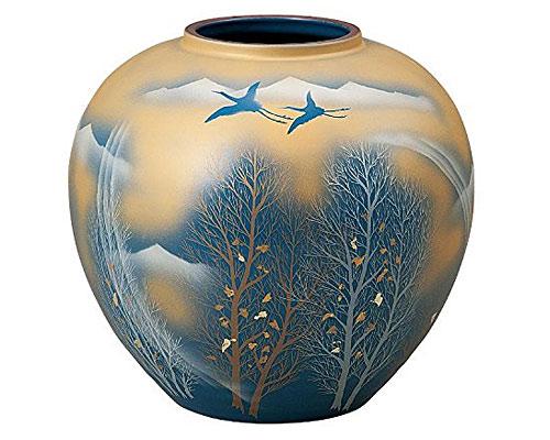 九谷焼 8.5号花瓶 金雲木立