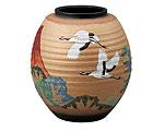 九谷焼 8号花瓶 赤富士に鶴 古田弘毅