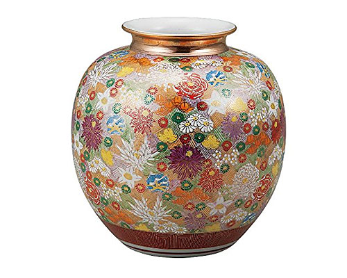 九谷焼 8号花瓶 金花詰