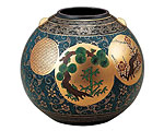 九谷焼 8号花瓶 青粒松竹梅