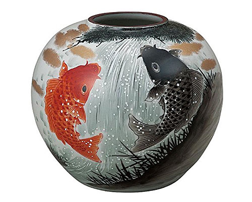 九谷焼 8号花瓶 鯉の滝登り 福田良則