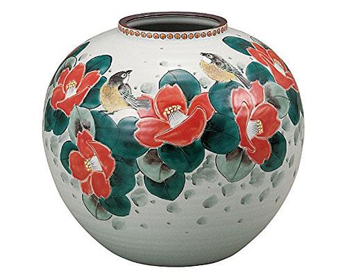 九谷焼 8号花瓶 椿に鳥 福田良則