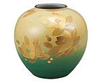 九谷焼 8号花瓶 釉裏金箔彩山茶花