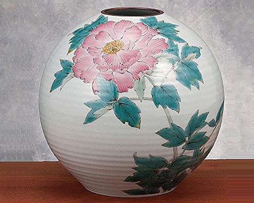 九谷焼 8号花瓶 牡丹 山田龍山