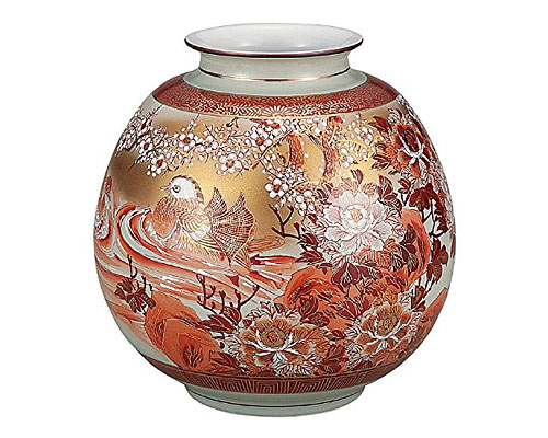 九谷焼 8号花瓶 本金赤絵牡丹おしどり 光崖