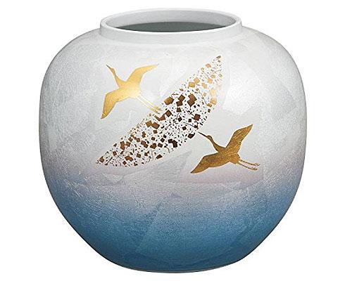 九谷焼 9.5号花瓶 銀彩鶴紋