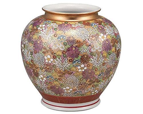 九谷焼 10号花瓶 金花詰