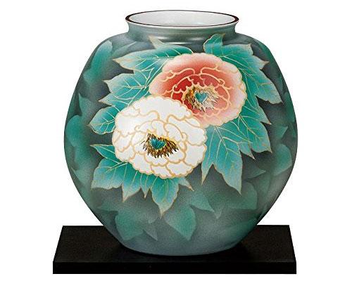九谷焼 10号花瓶 紅白牡丹 台付