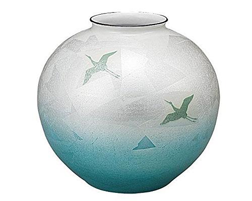 九谷焼 10号花瓶 銀彩双鶴