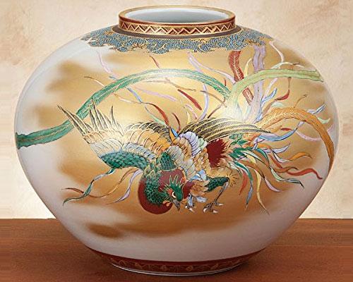 九谷焼 10号花瓶 鳳凰図 高明