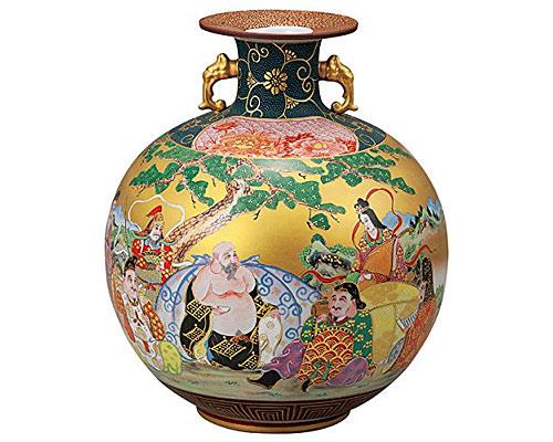 九谷焼 10.5号花瓶 本金七福神 大雅