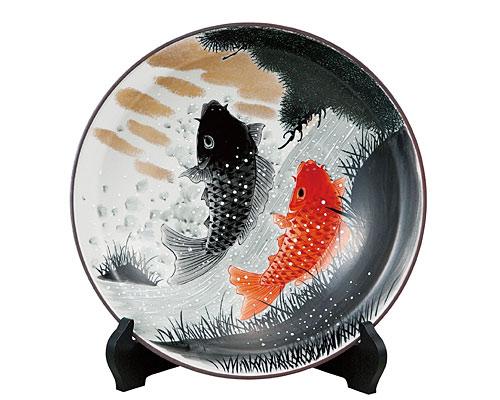 九谷焼 10号飾皿 鯉の滝登り(皿立付) 福田良則