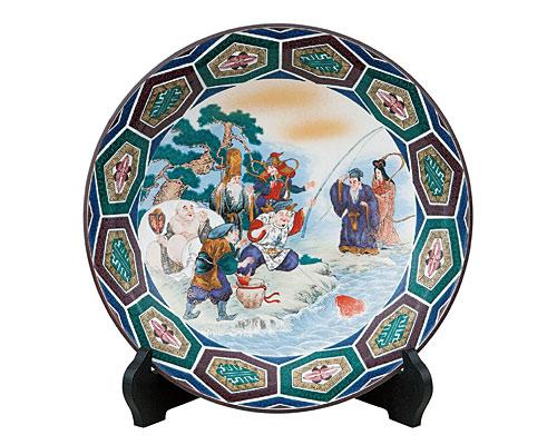 九谷焼 10号飾皿 七福神(皿立付)