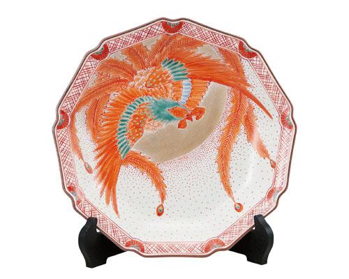 九谷焼 10号飾皿 赤絵鳳凰(皿立付) 福田良則