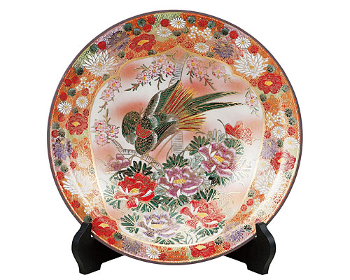 九谷焼 10号飾皿 割取花詰(皿立付)