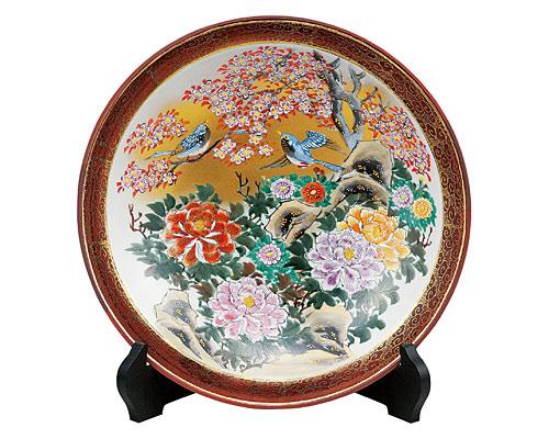 九谷焼 10号飾皿 牡丹花鳥(皿立付) 高明