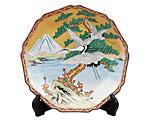 九谷焼 10号飾皿 富士に鶴(皿立付) 大雅