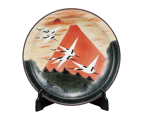 九谷焼 12号飾皿 赤富士(皿立付) 福田昇竜