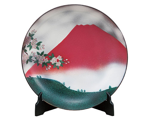 九谷焼 12号飾皿 赤富士(皿立付) 青良窯