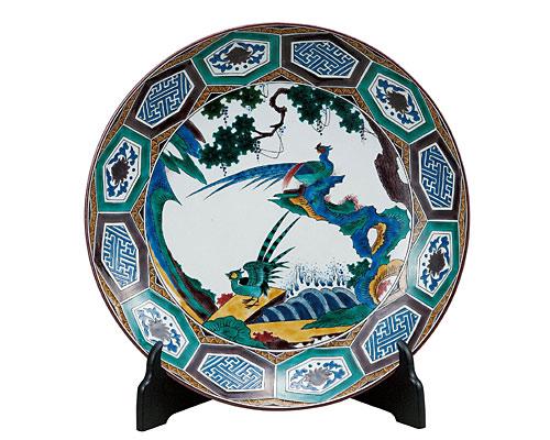 九谷焼 12号飾皿 双鳥雉子の図(皿立付) 加登明雄