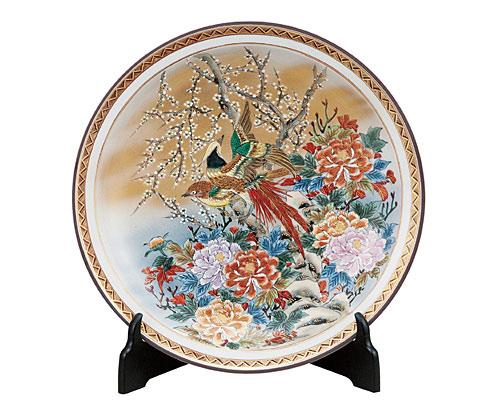 九谷焼 12号飾皿 本金花鳥(皿立付) 光崖