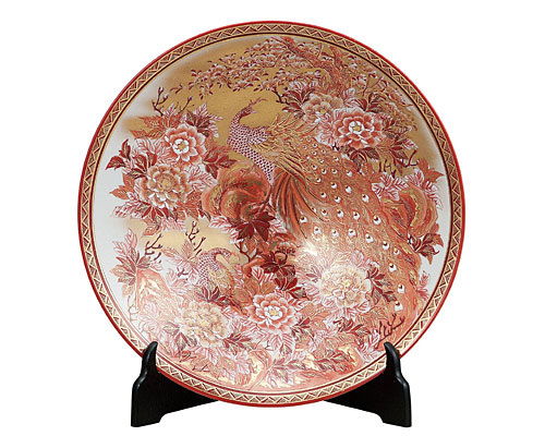九谷焼 12号飾皿 本金赤牡丹孔雀(皿立付) 高明