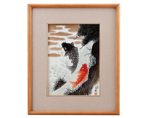 九谷焼 陶額 鯉の滝登り 福田良則