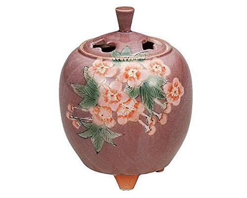 九谷焼 3.3号 香炉 花文 青良窯