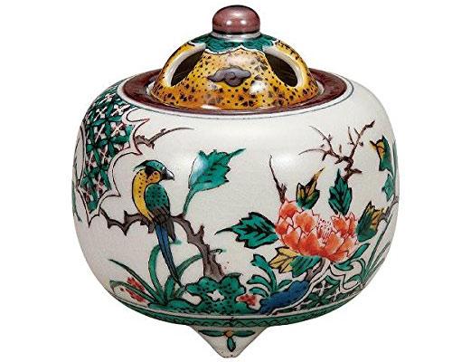 九谷焼 3.3号 香炉 牡丹鳥