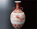 九谷焼 8.5号花瓶 赤絵瑞鳥文 福島武山