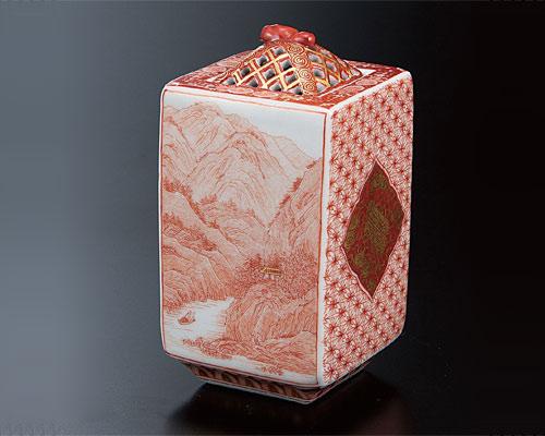 九谷焼 3.6号香炉 赤絵山水文 福島武山