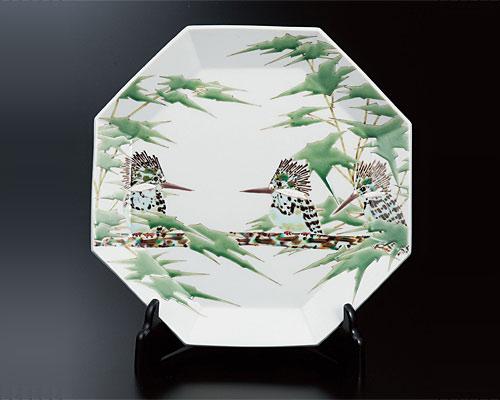 九谷焼 10号飾皿 山蝉(皿立付) 山岸大成