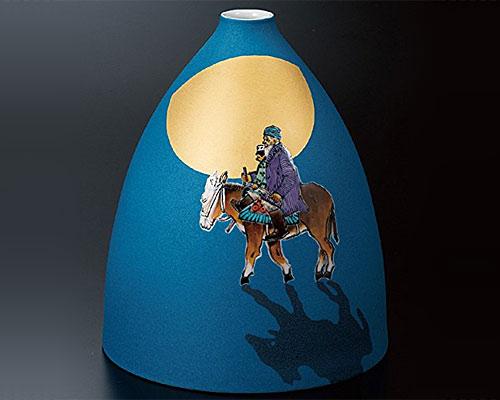 九谷焼 8号花瓶 「家路」 武腰一憲