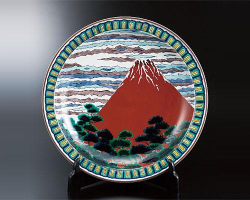 九谷焼 12号飾皿 赤富士(皿立付) 山上義正